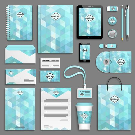 stationary: Blue ice aqua Corporate identity template set. Business stationery mock-up. Branding design.