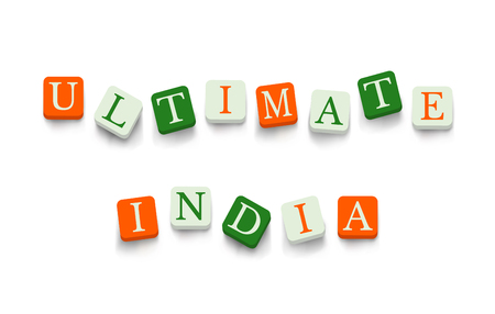 Ultimate India with colorful blocks isolated on a white background. National flags colors typography banner poster design. Indian Republic Day celebration Illustration