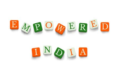 empowered: Empowered India with colorful blocks isolated on a white background. National flags colors typography banner poster design. Indian Republic Day celebration