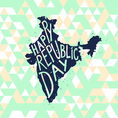 independent day: Happy republic Day Typographic poster with hand drawn quote. Lettering with grunge texture. National banner poster. Indian Republic Day celebration