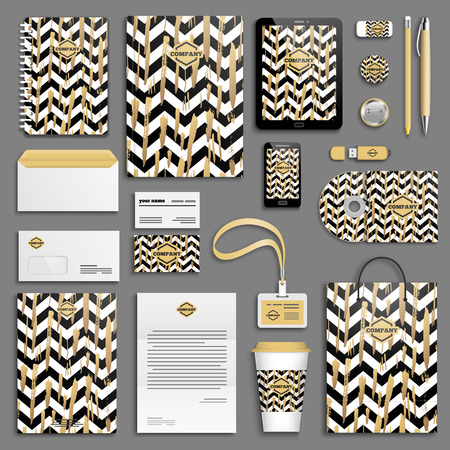 background stationary: Gold brush strokes and black and white stripes chevrons Corporate identity template set. Business stationery mock-up. Branding design.