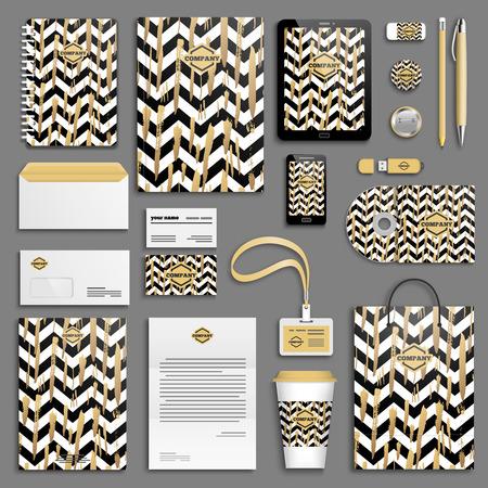 papeleria: pinceladas de oro y rayas blancas y negras galones identidad corporativa conjunto de plantillas. Papel del asunto maqueta. Branding diseño.