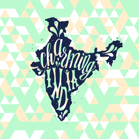 charming: Charming India Typographic poster with hand drawn quote. Lettering with grunge texture. National banner poster. Indian Republic Day celebration