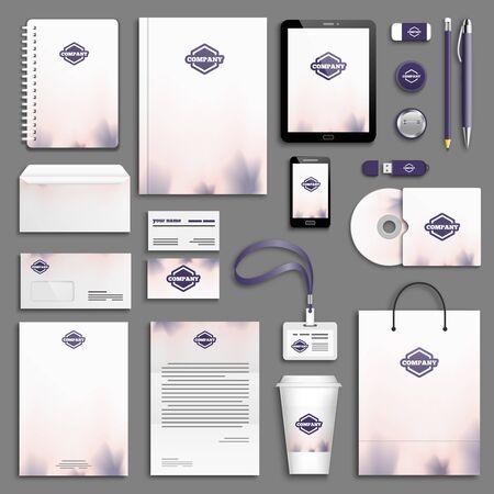 Purple rose Corporate identity template set. Business stationery mock-up. Branding design.