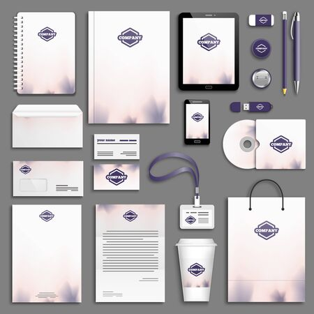 stationary: Purple rose Corporate identity template set. Business stationery mock-up. Branding design.