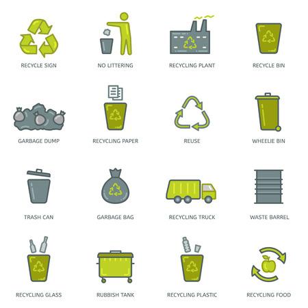 camion de basura: Conjunto de iconos de reciclaje de basura lineales. Vectores