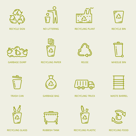 Recycling garbage linear icons set. Illustration