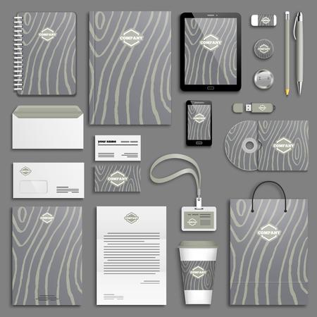 Wooden Trendy Corporate identity template set. Stock Illustratie