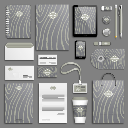 Wooden Trendy Corporate identity template set. Ilustrace