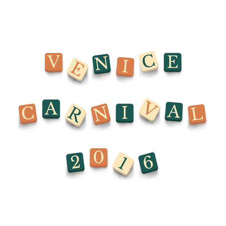 carnevale: Words Venice Carnival 2016 with colorful blocks isolated on a white background. Illustration