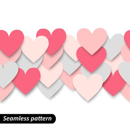 the first love: First love Colorful hearts seamless border. Valentine pattern. Design template for holiday and wedding card, wallpaper, background. Vector illustration