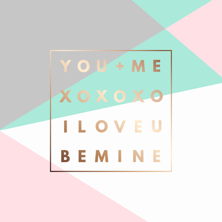 i love u: Romantic I love U, XOXO, Be Mine gold minimal icon in frame on geometric layout. Vintage modern label in frame outline geometric background. Retro package template. Trend layout, art print. Valentine day greeting card Illustration