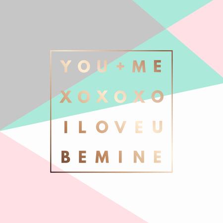 romantyczny: Romantyczny Kocham U, XOXO, Be Mine złota minimal ikona ramki na układ geometryczny. Vintage ramki nowoczesne etykiety w zarys geometryczny tle. Retro szablon pakietu. Trend layout, druk sztuki. Valentine dzień karty z pozdrowieniami