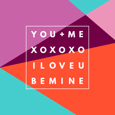 Romantic I love U, XOXO, Be Mine white minimal icon in frame on geometric layout. Vintage modern label in frame outline geometric background. Retro package template. Trend layout, art print. Valentine day greeting card