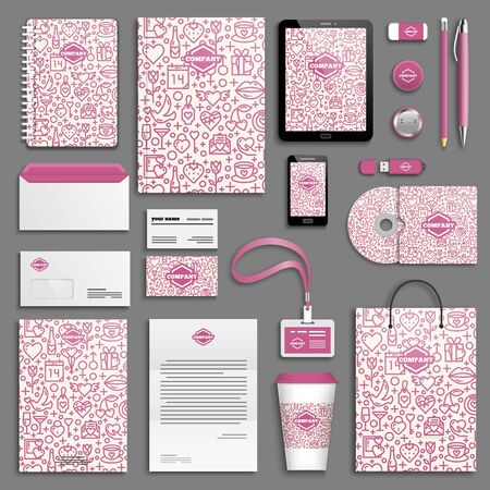 corporative: Valentine, love, wedding, romantic, lilac Corporate identity template set. Business stationery mock-up with icon. Branding design.