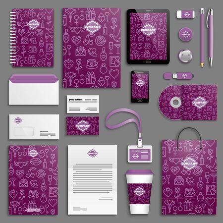 corporative: Valentine, love, wedding, romantic, purple Corporate identity template set. Business stationery mock-up with icon. Branding design.