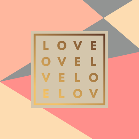 layout design template: Romantic love gold minimal icon in frame on geometric layout. Vintage modern label in frame outline geometric background. Retro package template. Trend layout, art print. Valentine day greeting card Illustration