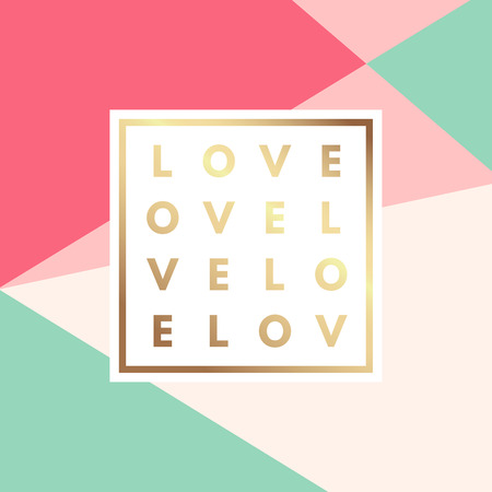 love gold: Romantic love gold minimal icon in frame on geometric layout. Vintage modern label in frame outline geometric background. Retro package template. Trend layout, art print. Valentine day greeting card Illustration