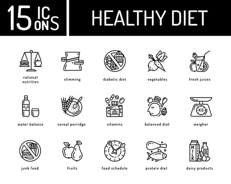 dieting: Healthy diet icons, healthy dieting icon Illustration