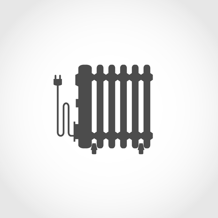 oil heater: Oil heater vector icon. Climatic equipment vector icon. Illustration