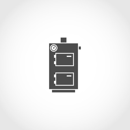climatic: Solid fuel boiler vector icon. Climatic equipment vector icon. Illustration