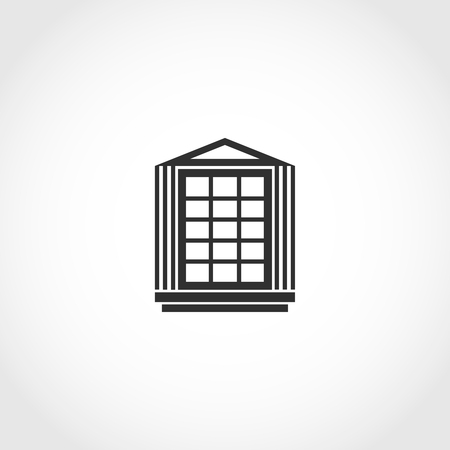 old frame: Vintage window vector icon. Flat exterior vector icon