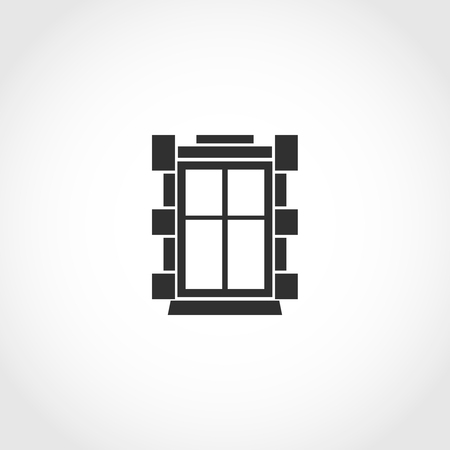 Vintage window vector icon. Flat exterior vector icon