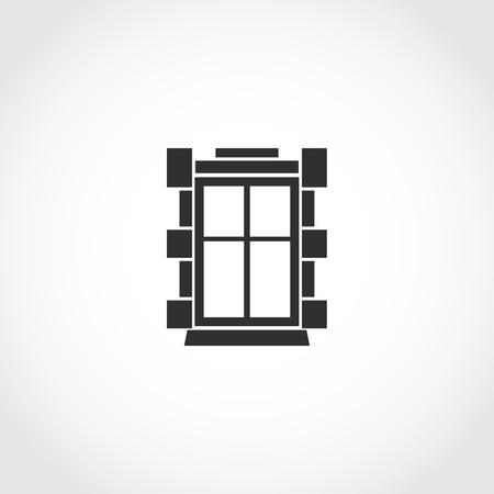 Vintage-Fenster Vektor-Symbol. Flache Außen Vektor-Symbol