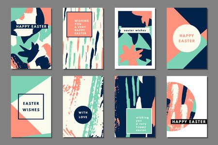 Mint pêche pastel ensemble de cartes imprimables de journalisation, cartes créatives, estampes d'art, dessiné à la main grunge texture, conception de l'étiquette minimale pour bannière, affiche, flyer. Happy cartes de voeux de Pâques
