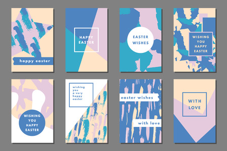 Pastel set of printable journaling cards, creative cards, art prints, hand drawn grunge texture, minimal label design for banner, poster, flyer. Happy Easter greeting cards