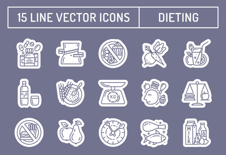 balance icon: Healthy diet icons, healthy dieting icon, rational nutrition icons, slimming loss weight, healthy lifestyle, balanced diet eating, organic food, vegetarian food, protein diet, healthy diet concept Illustration