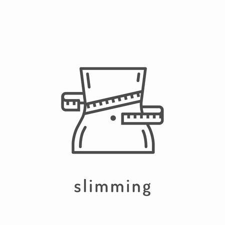 slimming: Slimming icon. Healthy diet icon, healthy dieting icon, rational nutrition icon, slimming loss weight, healthy lifestyle, balanced diet eating, organic food, vegetarian food, healthy diet concept Illustration