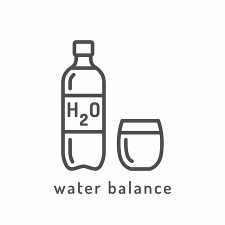 slimming: Water balance icon. Healthy diet icon, healthy dieting icon, rational nutrition icon, slimming loss weight, healthy lifestyle, balanced diet eating, organic food, vegetarian food, healthy diet concept