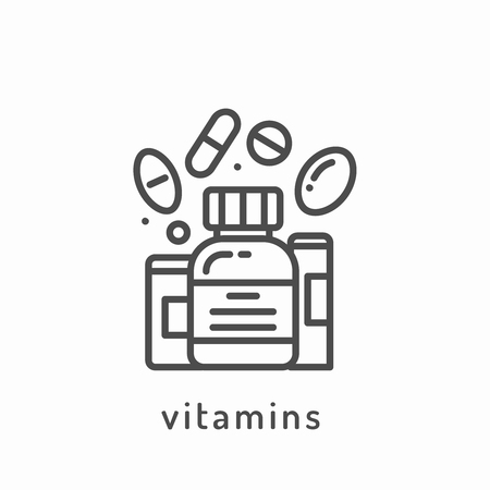 slimming: Vitamins icon. Healthy diet icon, healthy dieting icon, rational nutrition icon, slimming loss weight, healthy lifestyle, balanced diet eating, organic food, vegetarian food, healthy diet concept Illustration
