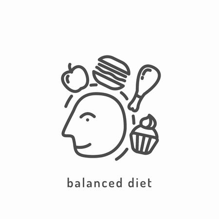 balanced: Balanced diet icon. Illustration