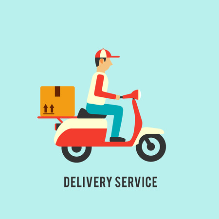 Delivery service illustration. Courier on scooter with parcell