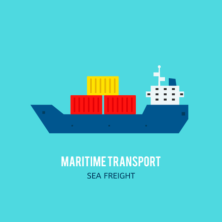 sea freight: Maritime transport illustration. Sea freight. Cargo delivery concept Illustration