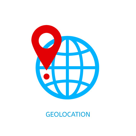 Geolocation vector icon. Geotagging globe vector concept. Banco de Imagens - 53681662