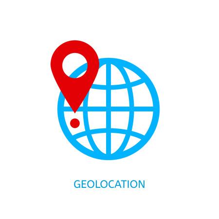 Geolocation vector icon. Geotagging globe vector concept.