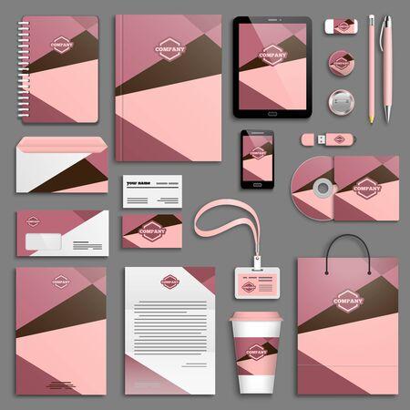 papeleria: Conjunto de plantillas de identidad corporativa de colores de moda. Vectores