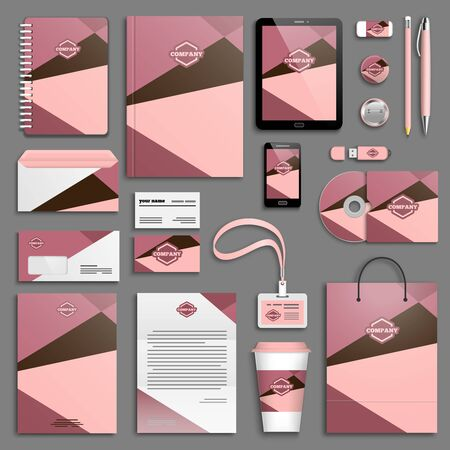 stationery: Trendy colorful Corporate identity template set.
