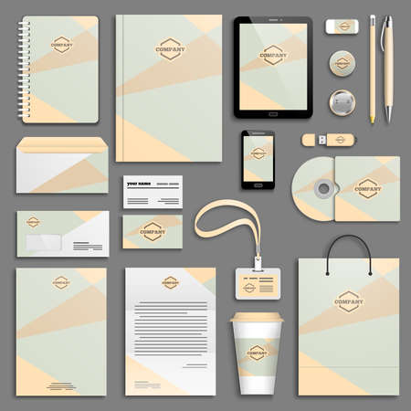 Trendy colorful Corporate identity template set.