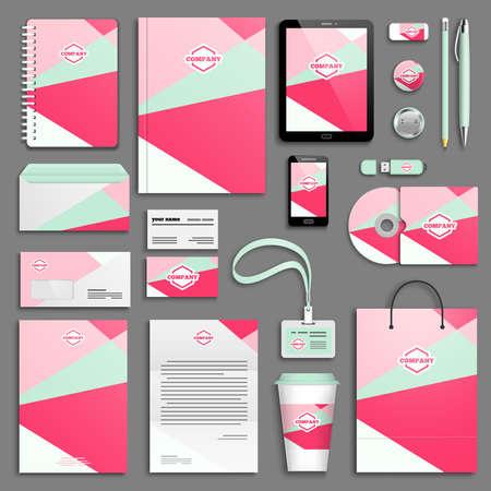 corporative: Trendy colorful Corporate identity template set.