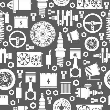 Auto spare parts seamless pattern. Illustration