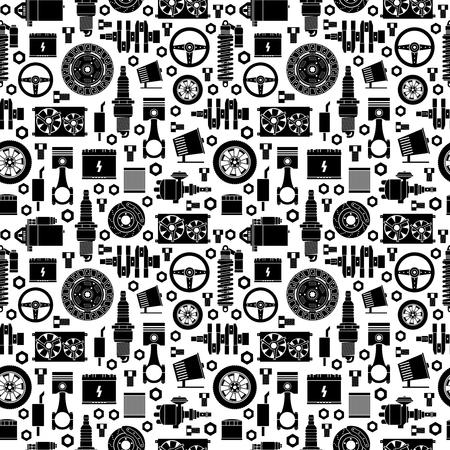 Pièces de rechange d'automobile seamless pattern. Vecteurs