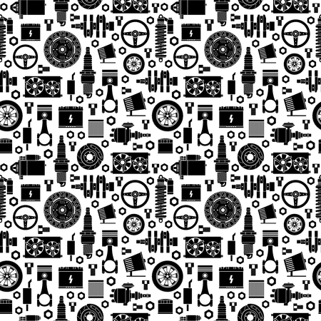Auto spare parts seamless pattern. Illustration