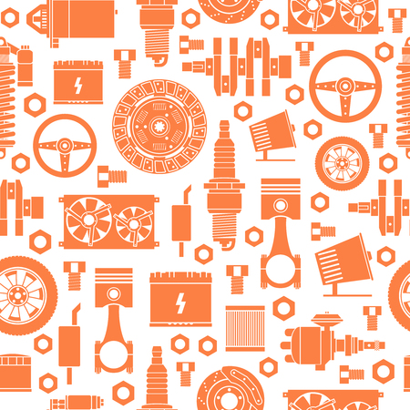 mechanical radiator: Auto spare parts seamless pattern. Car repair icons background. Vector illustration EPS10.