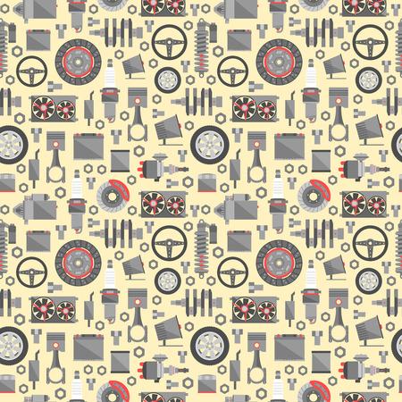Auto spare parts seamless pattern.  イラスト・ベクター素材