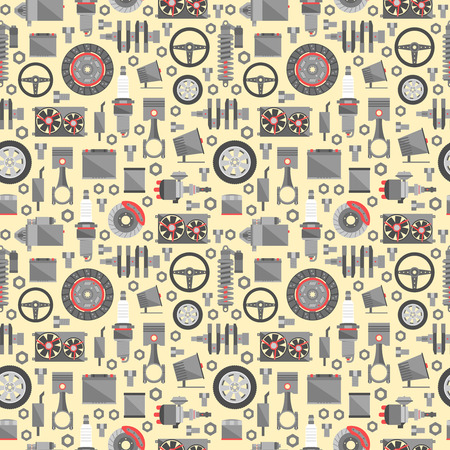 Auto spare parts seamless pattern. Ilustrace