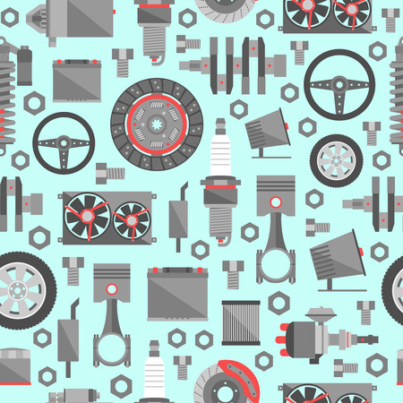 mechanical radiator: Auto spare parts seamless pattern. Illustration
